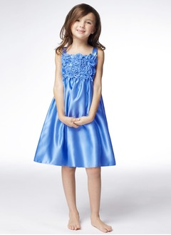 A-Line/Princess Strapless Knee-Length Satin Flower Girl Dress With Ruffle