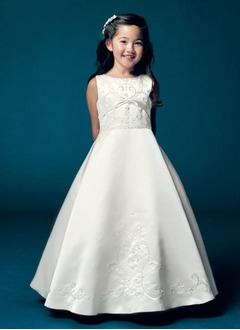 A-Line/Princess Scoop Neck Floor-Length Satin Flower Girl Dress With Embroidered Beading