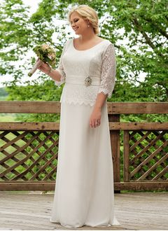Sheath/Column Scoop Neck Floor-Length Chiffon Lace Wedding Dress With Ruffle Beading