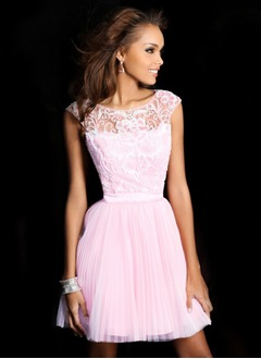 A-Line/Princess Scoop Neck Short/Mini Tulle Charmeuse Homecoming Dress With Ruffle Lace Beading Sequins Bow(s)