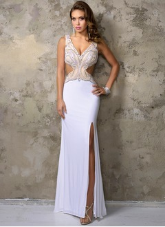 Sheath/Column V-neck Floor-Length Jersey Prom Dress With Beading Split Front