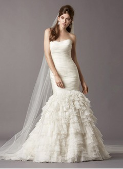 Trumpet/Mermaid Strapless Sweetheart Sweep Train Organza Wedding Dress With Ruffle