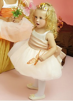 A-Line/Princess Scoop Neck Floor-Length Satin Tulle Flower Girl Dress With Sash Bow(s)