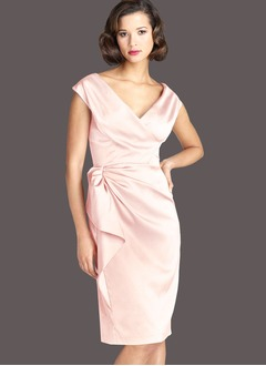 Sheath/Column V-neck Knee-Length Charmeuse Mother of the Bride Dress With Ruffle Cascading Ruffles