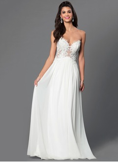 A-Line/Princess Strapless Sweetheart Floor-Length Chiffon Tulle Evening Dress With Beading Appliques Lace
