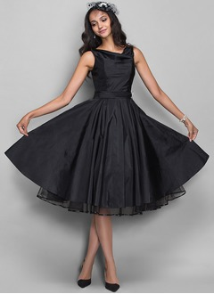 A-Line/Princess Cowl Neck Knee-Length Taffeta Cocktail Dress With Beading Pleated