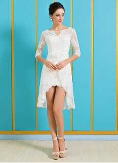 A-Line/Princess V-neck Asymmetrical Lace Wedding Dress With Beading Flower(s)