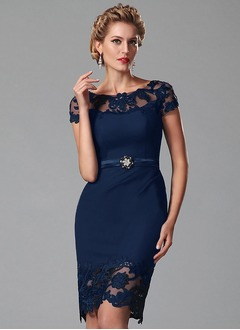 Sheath/Column Scoop Neck Knee-Length Satin Cocktail Dress With Beading Appliques Lace (0165099463)