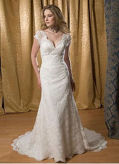 Sheath/Column V-neck Court Train Satin Lace Wedding Dress With Beading