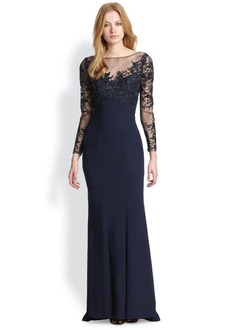 Sheath/Column Scoop Neck Sweep Train Satin Tulle Evening Dress With Appliques Lace