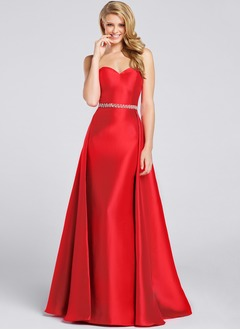 A-Line/Princess Sweetheart Sweep Train Satin Prom Dress With Beading
