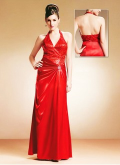Sheath/Column Halter Floor-Length Charmeuse Sequined Mother of the Bride Dress With Ruffle Crystal Brooch