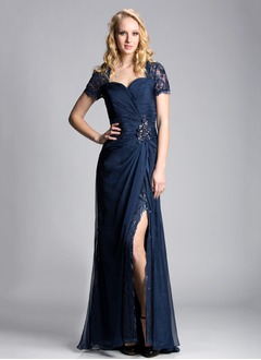 Sheath/Column Sweetheart Sweep Train 30D Chiffon Evening Dress With Ruffle Beading Split Front