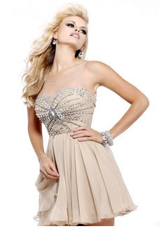 A-Line/Princess Scoop Neck Short/Mini Chiffon Prom Dress With Beading