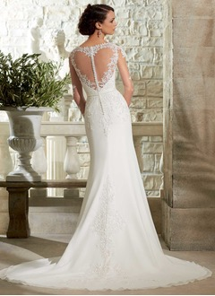 Sheath/Column V-neck Sweep Train Chiffon Lace Wedding Dress With Beading
