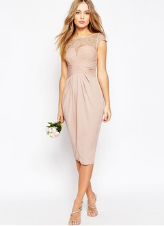 Sheath/Column Scoop Neck Knee-Length Chiffon Bridesmaid Dress With Ruffle Lace Appliques Lace