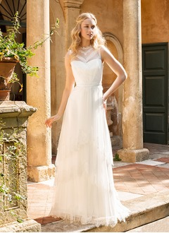 A-Line/Princess Scoop Neck Floor-Length Tulle Lace Wedding Dress With Beading