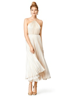 Empire Halter Ankle-Length Satin Chiffon Cocktail Dress With Pleated