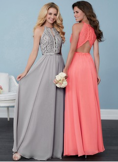 A-Line/Princess Scoop Neck Floor-Length Chiffon Lace Bridesmaid Dress With Lace