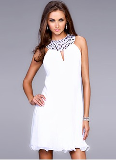 A-Line/Princess Scoop Neck Short/Mini Chiffon Cocktail Dress With Beading