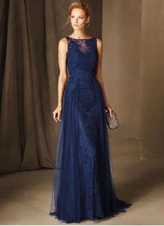 A-Line/Princess Scoop Neck Sweep Train Tulle Evening Dress With Lace