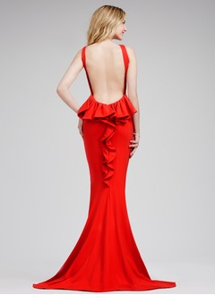 Trumpet/Mermaid Scoop Neck Sweep Train Jersey Prom Dress With Ruffle Cascading Ruffles