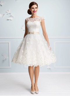 A-Line/Princess Scoop Neck Knee-Length Satin Tulle Wedding Dress With Sash Appliques Lace