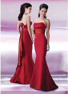 Trumpet/Mermaid Strapless Sweep Train Satin Bridesmaid Dress  ...