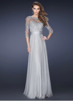 A-Line/Princess Scoop Neck Floor-Length Chiffon Tulle Mother of the Bride Dress With Appliques Lace