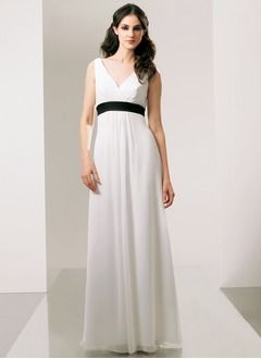 A-Line/Princess V-neck Floor-Length Chiffon Charmeuse Prom Dress With Sash
