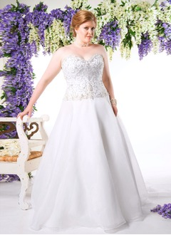 A-Line/Princess Strapless Sweetheart Chapel Train Organza Satin Wedding Dress With Beading