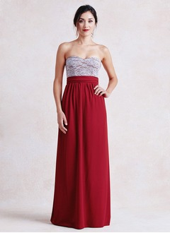 Empire Strapless Sweetheart Floor-Length Chiffon Lace Bridesmaid Dress With Ruffle Lace