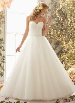 Ball-Gown Strapless Sweetheart Sweep Train Tulle Wedding Dress With Ruffle