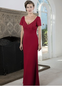 Sheath/Column V-neck Floor-Length Chiffon Mother of the Bride Dress With Ruffle Lace