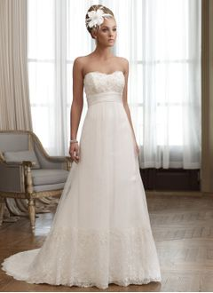Empire Strapless Sweetheart Court Train Tulle Lace Wedding Dress With Beading