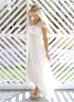 Empire Sweetheart Asymmetrical Chiffon Wedding Dress With Ruffle