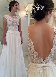 A-Line/Princess Scoop Neck Sweep Train Chiffon Lace Wedding Dress With Appliques Lace (0025093716)
