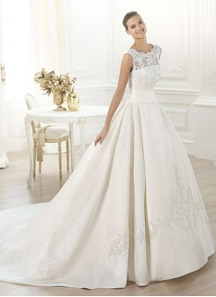 Ball-Gown Scoop Neck Cathedral Train Satin Wedding Dress With Ruffle Lace Beading