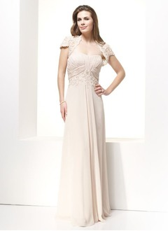Empire Sweetheart Floor-Length Chiffon Mother of the Bride Dress With Ruffle Lace