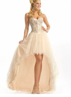 A-Line/Princess Strapless Sweetheart Asymmetrical Tulle Prom Dress With Beading Sequins