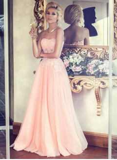 A-Line/Princess Strapless Sweetheart Floor-Length Tulle Prom Dress With Appliques Lace