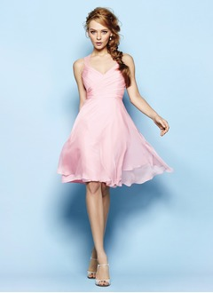 A-Line/Princess Sweetheart Knee-Length Chiffon Prom Dress With Ruffle Lace