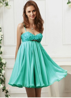 Empire Sweetheart Short/Mini Chiffon Prom Dress With Beading Flower(s)