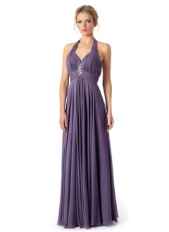 A-Line/Princess Halter Floor-Length Chiffon Charmeuse Prom Dress With Ruffle