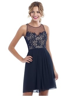 A-Line/Princess Scoop Neck Short/Mini Chiffon Homecoming Dress With Lace