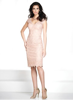 Sheath/Column V-neck Knee-Length Lace Mother of the Bride  ...