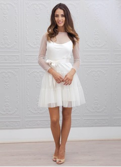 A-Line/Princess Scoop Neck Short/Mini Chiffon Tulle Wedding Dress With Sash Pleated
