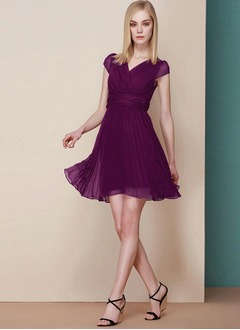 A-Line/Princess V-neck Short/Mini Chiffon Bridesmaid Dress With Ruffle Pleated