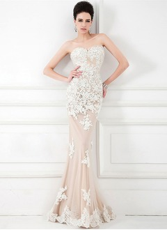 Trumpet/Mermaid Strapless Sweetheart Sweep Train Tulle Lace Evening Dress With Beading