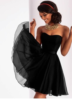 A-Line/Princess Strapless Sweetheart Short/Mini 30D Chiffon Prom Dress